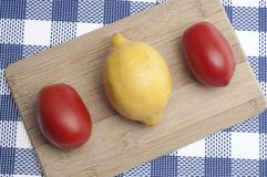 Fresh Lemons and Tomatoes Stock Photo