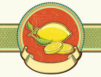 Fresh lemons .Vector vintage fruits on old backgro Stock Photography