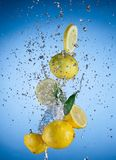 Fresh lemons with water splash Royalty Free Stock Image
