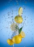 Fresh lemons with water splash Royalty Free Stock Image