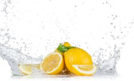 Fresh lemons with water splashes Stock Photos