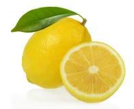 Fresh lemons on white Royalty Free Stock Image