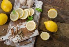 Fresh lemons on  wooden board. Stock Photos