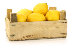 Fresh lemons in a wooden box Stock Image