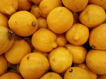 A Fresh lemons. Yellow lemons are sold in supermarkets Stock Photo