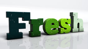 Fresh Letters. 3d render of the word Fresh, with water drops Royalty Free Stock Photos