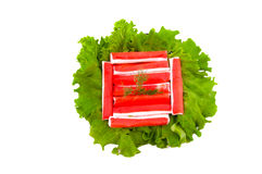 Fresh lettuce and crab meat Royalty Free Stock Photo