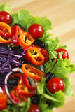 Fresh Lettuce Tomato Pepper Olive Onion Salad Royalty Free Stock Photos