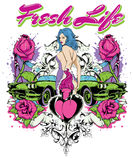 Fresh life. Vector illustration ideal for printing on apparel clothes Stock Photos