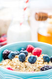 Fresh, light and tasty breakfast with summer fruits Stock Photos
