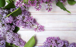 Fresh lilac flowers on a wooden table Stock Photos