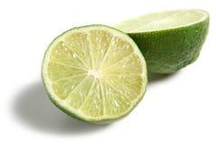 Fresh Lime. Halved on white background stock photo