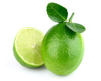 Fresh lime. Fresh juicy lime with leaves stock photo