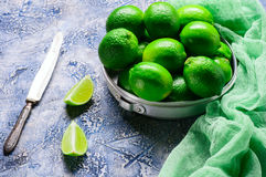 Fresh lime in an aluminum bowl Stock Photos