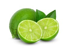 Free Fresh Lime And Lemon With Green Leaf Isolated On A White Background Royalty Free Stock Images - 168585869