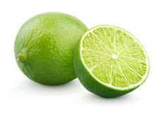 Fresh lime citrus fruit with half. Fresh lime citrus fruit and half isolated on white background with clipping path stock photography