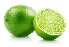 Fresh lime citrus fruit with slice Stock Images
