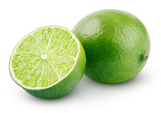Fresh lime citrus fruit with slice. Fresh lime citrus fruit and slice  on white background with clipping path Royalty Free Stock Photo
