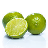 Fresh lime fruit over the white background Stock Photography