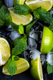 Fresh lime and ice with mint Royalty Free Stock Photos