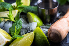 Fresh lime and ice with mint Stock Photo