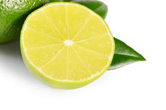 The fresh lime isolated on a white background Stock Photos