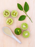Fresh Lime juice and lime slice Royalty Free Stock Images