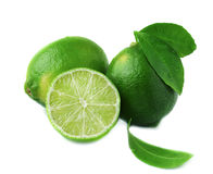 Fresh lime with leaf and water drops isolated on white. Background Stock Photos