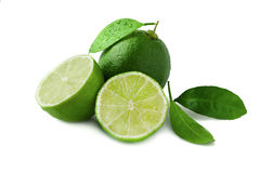 Fresh lime with leaf and water drops isolated on white. Background Stock Images
