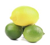 Fresh lime and lemon isolated on white. Stock Photography
