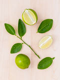 Fresh lime and lime slice Royalty Free Stock Photos