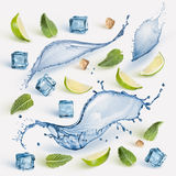 Fresh lime, mint and ice cubes. Mohito ingredient: fresh lime slices, mint , water splash, sugar and ice cubes isolated on white background Stock Images