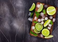 Fresh lime, mint and ice on cutting board on dark background. Ingredients for Mojito or Cocktail. Top view royalty free stock photos