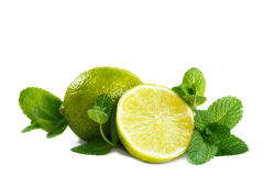 Fresh lime and mint. Royalty Free Stock Images