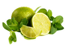 Fresh lime and mint. Stock Photos