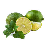 Fresh Lime with Mint Leaf Royalty Free Stock Images