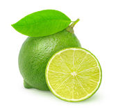 Fresh lime. Over white background Stock Photo