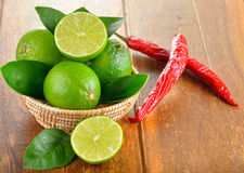 Fresh lime and red chilli Stock Photography