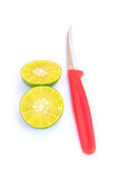 Fresh lime and red cutter. On white background Stock Image