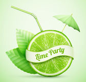 Fresh lime with ribbon and cocktail stick vector illustration