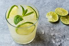 Fresh Lime Schorle Cocktail with Crush Ice. Beverage Concept royalty free stock photography