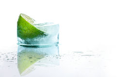 Fresh lime and slice with ice at recliner Stock Images