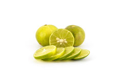 Fresh lime slice isolated Stock Photos