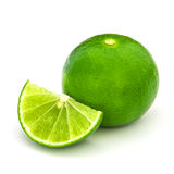 Fresh  lime  and  slice, Isolated on white background Royalty Free Stock Images