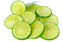Fresh lime slice isolated on white background Stock Image