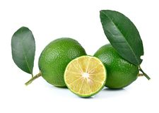 Fresh lime and slice, Isolated on white background Stock Photo