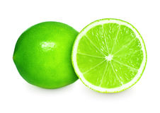 Fresh lime and slice on white background Royalty Free Stock Photography
