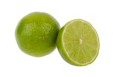Fresh lime and slice Royalty Free Stock Photo