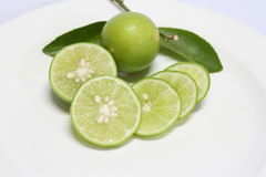 Fresh lime sliced Stock Images