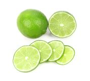 Fresh lime and slices. Stock Photography